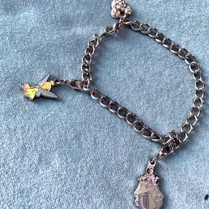 Disney Silver Tone Charm Bracelet